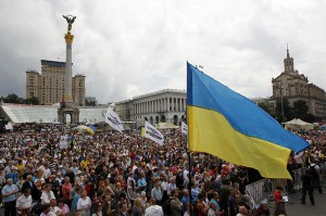 People attend the so-called people's assembly in Independence Square in central Kiev