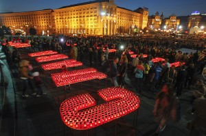 People light candles at Independence Square in Kiev, during a rally to show support for servicemen on the frontline in eastern Ukraine