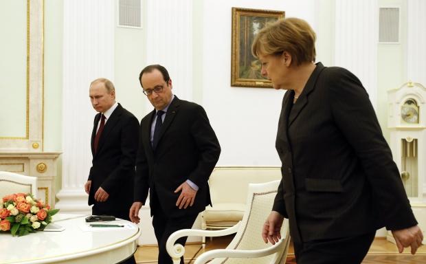 merkel Hollande Putin