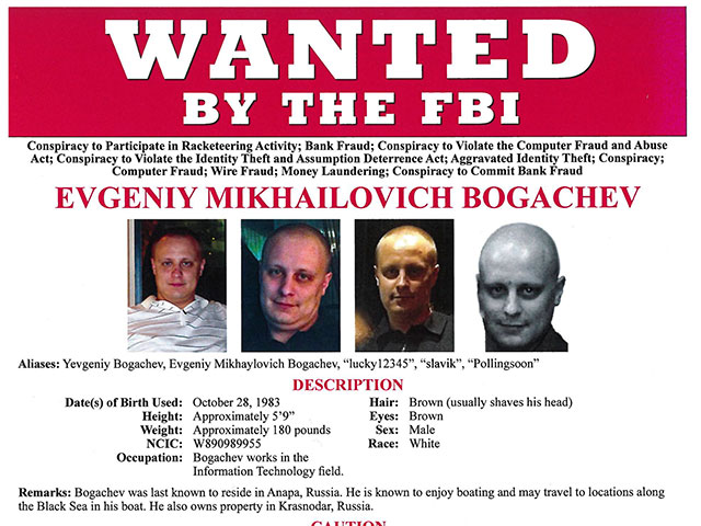 Handout of Russian national Evengiy Bogachev is shown in this FBI Wanted Poster